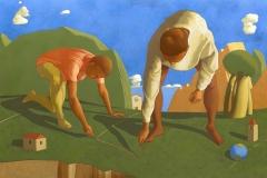 SENSI ARTE, Fondazione di una città, tempera su tela, cm 150 x 100