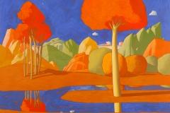 SENSI ARTE, Paesaggio ideale, tempera su tavola, cm 58 x 64