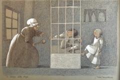 SENSI ARTE, La cucina della strega da Hansel e Gretel, mista su carta, cm 50 x 35