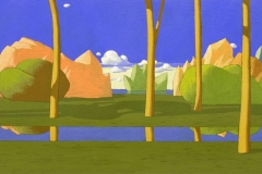 SENSI ARTE, Paesaggio ideale, tempera su tavola, cm 30 x 80