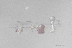SENSI ARTE, Piscina, giocando mista, pastelli su carta, cm 54 x 36, MNZM_1165