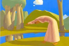 SENSI ARTE, Paesaggio con ragazza che finge di tuffarsi in un fiume,  tempera su tavola, cm 130  x 105