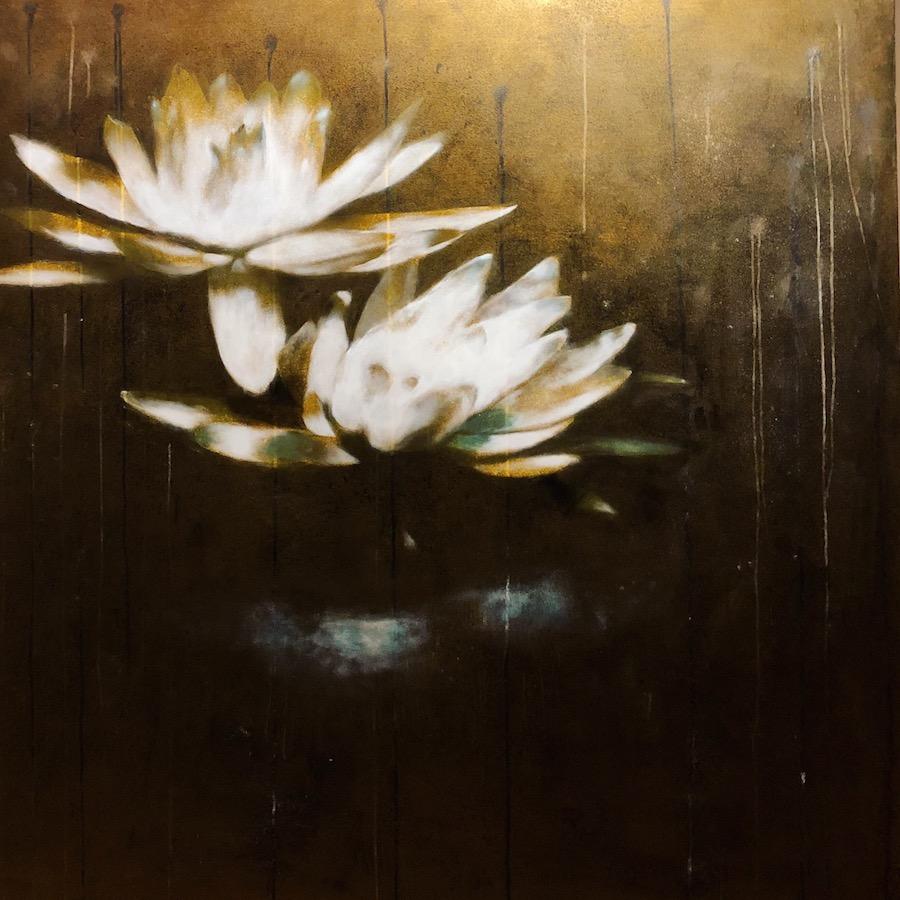 SENSI ARTE, Lotus, il cielo mi illumina, acrilico su tela, cm 150 x 150, BRLM_25