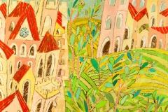 SENSI ARTE, Di mura olivi e colline 1, mista su tavola, cm 100 x 100