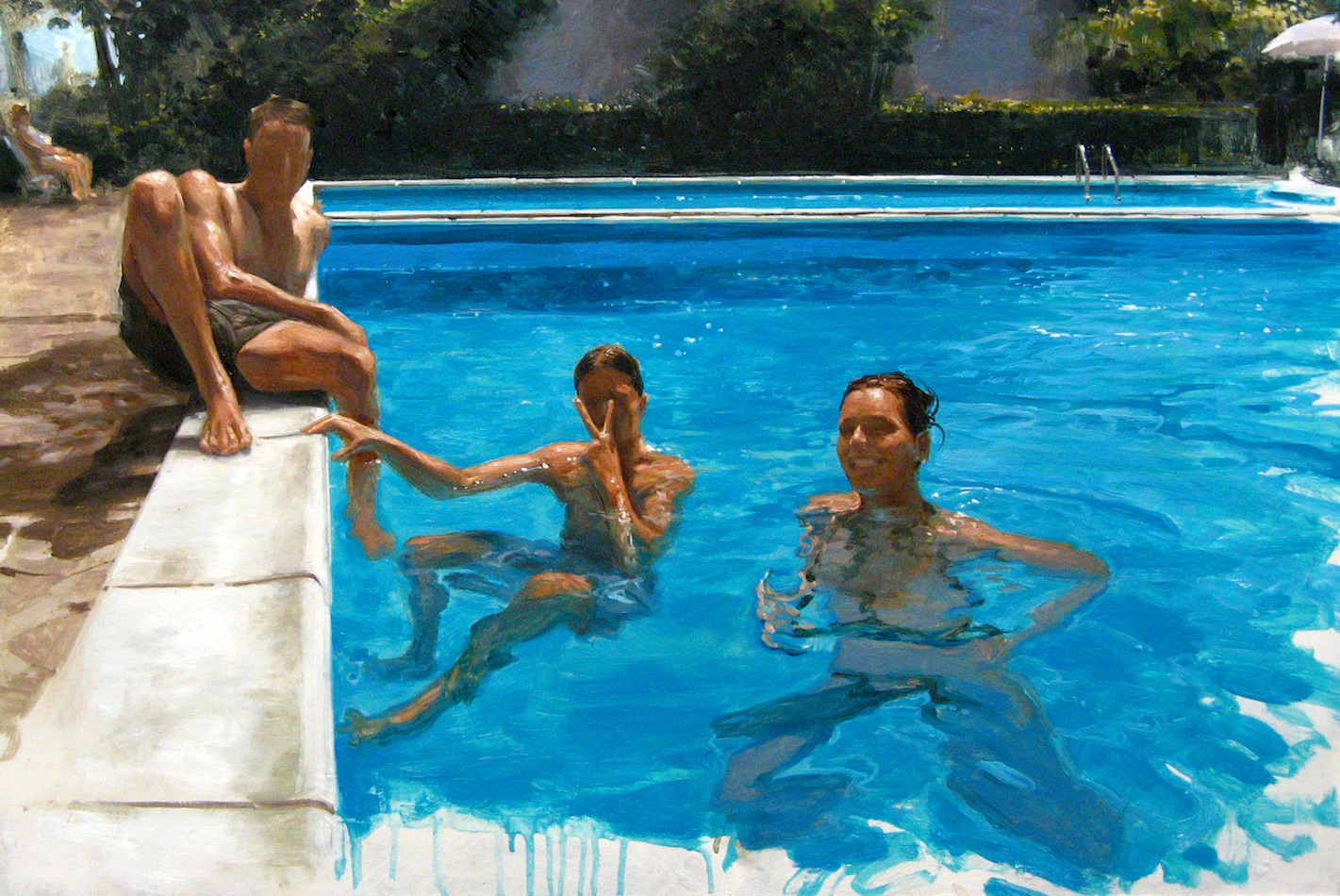 SENSI ARTE, By the pool, olio su tavola, cm 40 x 60