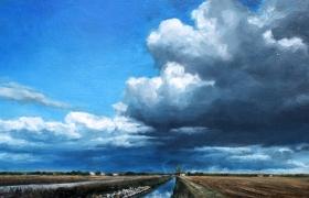 SENSI ARTE, Stormy weather, olio su tavola, cm 90 x 33