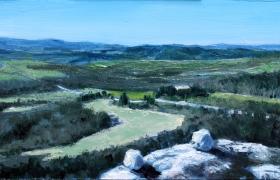 SENSI ARTE, Top of the hill, olio su tavola, cm 46 x 19