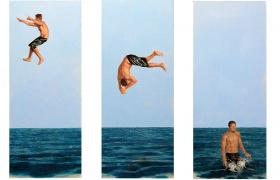 SENSI ARTE, Jump trittico, olio su tela, cm 45 x 19, NNNM_24