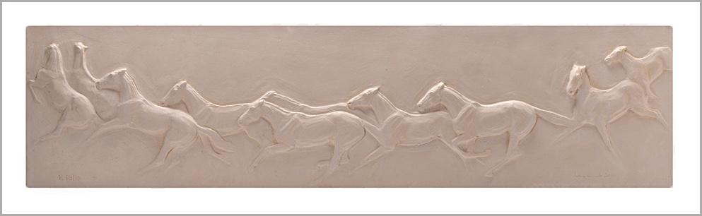 SENSI ARTE, Il Palio di Siena, semirefrattario, cm 23 x 90 x 4_LYLS_80