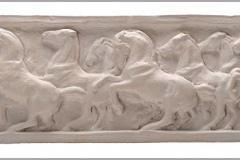 SENSI ARTE, Dieci cavalli scossi, bassorilievo, semirefrattario, cm 13 x 46 x _ LYLS