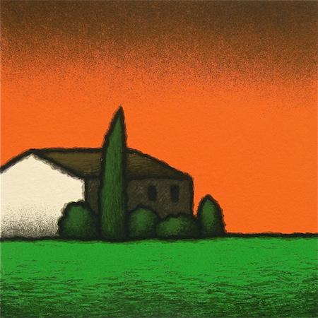 SENSI ARTE, Casa arancio, serigrafia su carta, cm 30 x 30_STFT_555