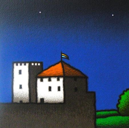 SENSI ARTE, Casa e torre, serigrafia su carta, cm 30 x 30_ STFT_308