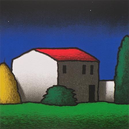 SENSI ARTE, Casale notturno, serigrafia su carta, cm 50 x 50_STFT_550