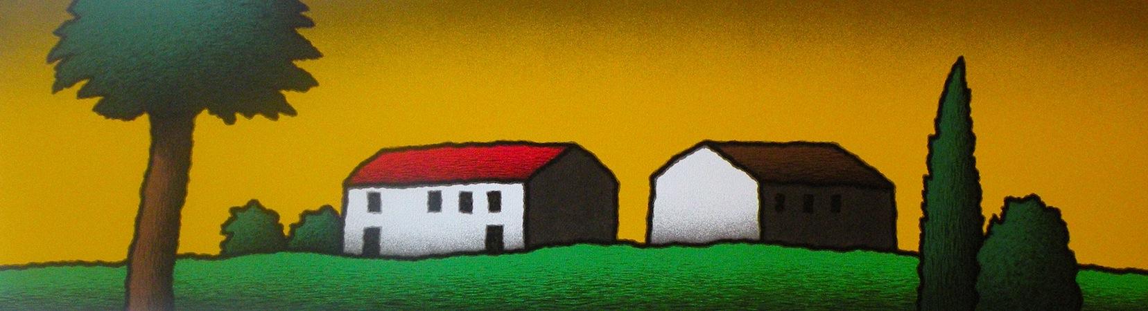 SENSI ARTE, Casolare giallo,  serigrafia su carta, cm 140 x 50 _STFT_476