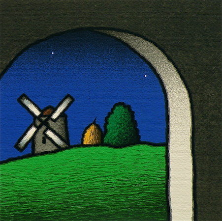 SENSI ARTE, Interno e mulino, serigrafia su carta, cm 30 x 30_STFT_477