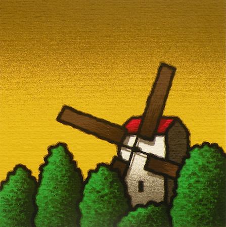 SENSI ARTE, Mulino a vento, serigrafia su carta, cm 30 x 30_STFT_509