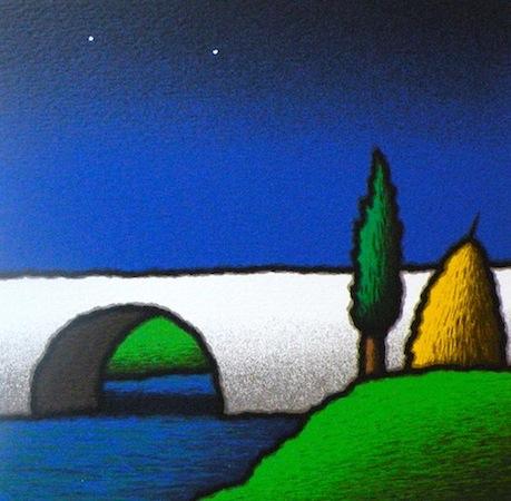 SENSI ARTE, Ponte e cipresso, serigrafia su carta, cm 30 x 30_STFT_451