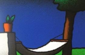 SENSI ARTE, Amaca e vaso, serigrafia su carta, cm 30 x 30_ STFT_461