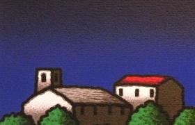 SENSI ARTE, Casali, serigrafia su carta, cm 30 x 30_STFT_508