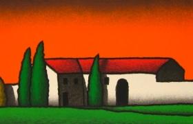 SENSI ARTE, Casolare a sera, serigrafia su carta, cm 140 x 50_STFT_551