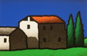 SENSI ARTE, Casolare di pianura, serigrafia su carta, cm 30 x 30_STFT_480