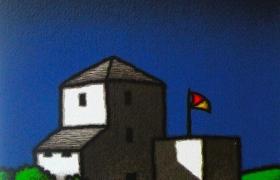 SENSI ARTE, Casolare e bandiera, serigrafia su carta, cm 30 x 30_STFT_299