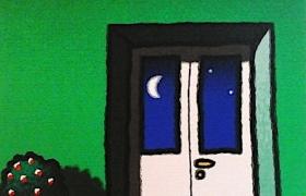 SENSI ARTE, Luna e portafinestra, serigrafia su carta, cm 30 x 30_STFT_481