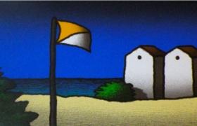 Spiaggia e bandiera, serigrafia su carta, cm 140 x 50