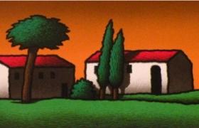 Casolari al tramonto, serigrafia su carta, cm 140 x 50