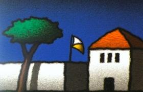 Casa e bandiera, serigrafia su carta, cm 30 x 30