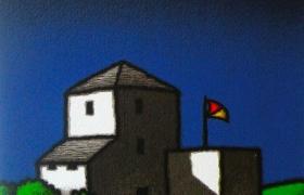 Casolare e bandiera, serigrafia su carta, cm 30 x 30