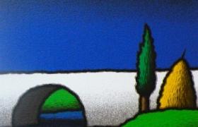 Ponte e cipresso, serigrafia su carta, cm 30 x 30