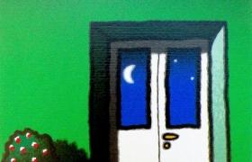 Luna e porta finestra, serigrafia su carta, cm 30 x 30