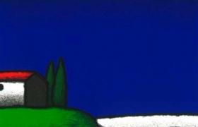 Luna e cipressi, serigrafia su carta, cm 30 x 30