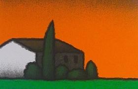 Casa arancio, serigrafia su carta, cm 30 x 30