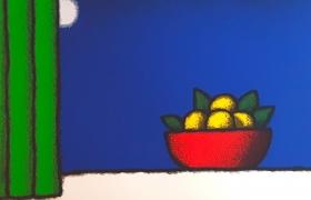 Vaso d'arance, serigrafia su carta, cm 30 x 30