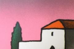 SENSI ARTE, Casolare e cipresso, serigrafia su carta, cm 30x 30_STFT_002