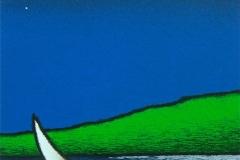 SENSI ARTE, Barca al lago, serigrafia su carta, cm 30 x 30_STFT_566