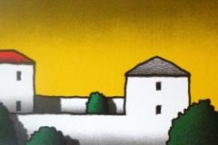 SENSI ARTE, Casa con tetto rosso e corte, serigrafia su carta, cm 140 x 50_STFT_100