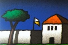 SENSI ARTE, Casa e bandiera, serigrafia su carta, cm 30 x 30_STFT_462