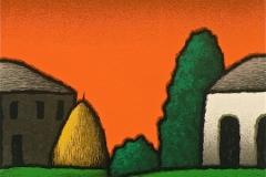 SENSI ARTE, Casali a sera, serigrafia su carta, cm 30 x 30_STFT_548