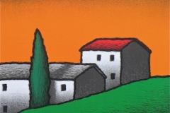SENSI ARTE, Casali e cipresso, serigrafia su carta, cm 50 x 50_STFT_549
