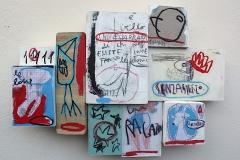 SENSI ARTE, Le loup gentil, assemblaggio, cm 52 x 37 x 6